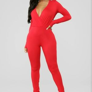 Cared For Red Jumpsuit